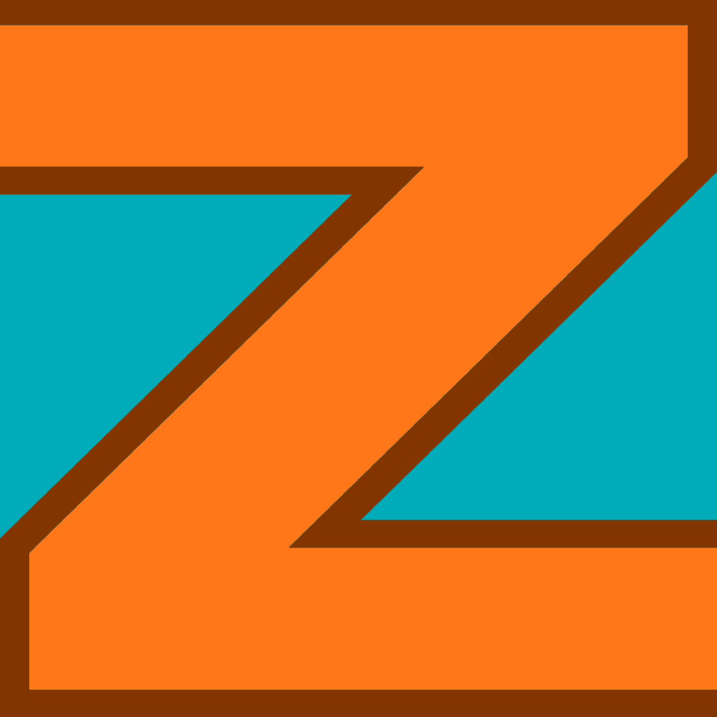 Zeugma podcast logo, an orange letter Z on blue background