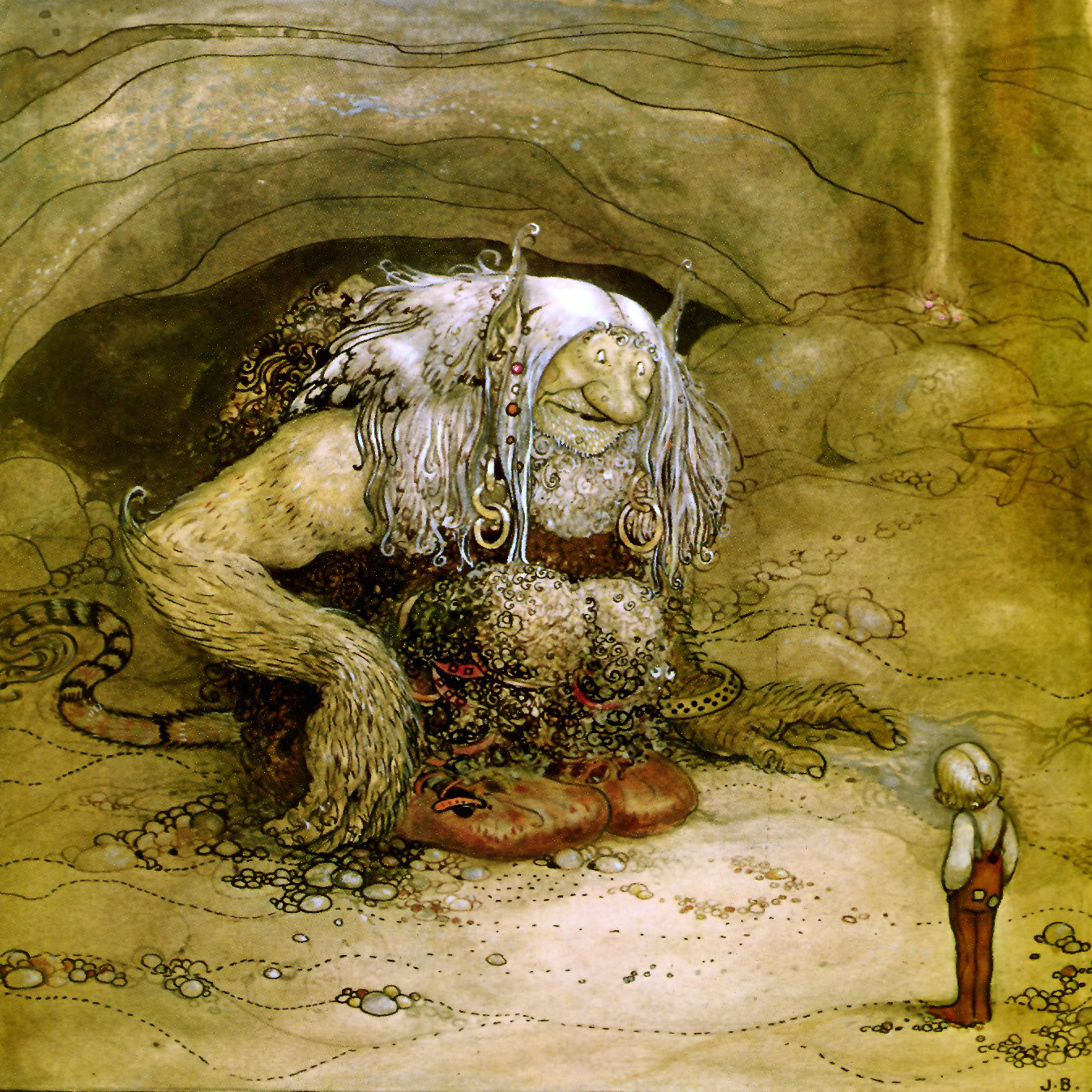 Scandinavian illustration of a large troll speaking to a small child