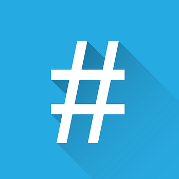 A white hashtag or number sign against a blue background