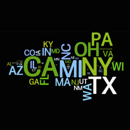 Screenshot from 'Las Vegas from a Distance' with US state abbreviations displayed in a word cloud